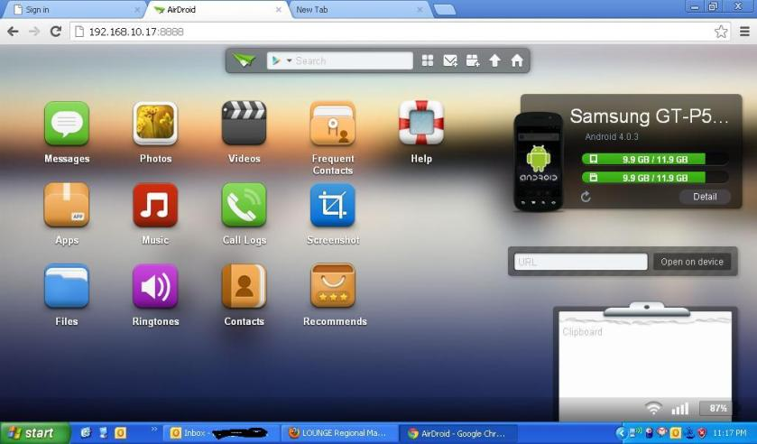 Menu Airdroid di browser laptop