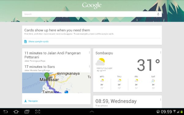Google Now Galaxy Tab 2 10.1